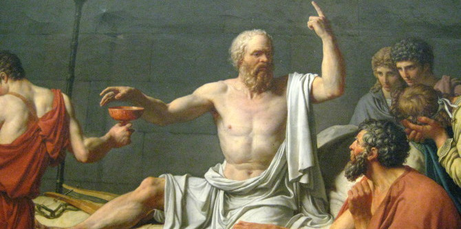 """The Death of Socrates Jacques-Louis David (French, 1748–1825) 1787 Oil on canvas; 51 x 77 1/4 in. (129.5 x 196.2 cm) Accused by the Athenian government of denying the gods and corrupting the young through his teachings, Socrates (469–399 B.C.E.) was offered the choice of renouncing his beliefs or being sentenced to death by drinking hemlock. David shows him calmly discoursing on the immortality of the soul with his grief-stricken disciples. Painted in 1787 the picture, with its stoic theme, is perhaps David's most perfect Neoclassical statement. The printmaker and publisher John Boydell wrote to Sir Joshua Reynolds that it was """"the greatest effort of art since the Sistine Chapel and the stanze of Raphael. . . . This work would have done honour to Athens at the time of Pericles."""" The subject is loosely based on Plato's """"Phaedo,"""" but in painting it David consulted a variety of sources, including Diderot's treatise on dramatic poetry of 1758 and works by the poet André Chenier. The pose of the figure at the foot of the bed was reportedly inspired by a passage in a novel by the English writer Richardson. Catharine Lorillard Wolfe Collection, Wolfe Fund, 1931 (31.45) ** The Metropolitan Museum of Art's permanent collection contains more than two million works of art from around the world. It opened its doors on February 20, 1872, housed in a building located at 681 Fifth Avenue in New York City. Under their guidance of John Taylor Johnston and George Palmer Putnam, the Met's holdings, initially consisting of a Roman stone sarcophagus and 174 mostly European paintings, quickly outgrew the available space. In 1873, occasioned by the Met's purchase of the Cesnola Collection of Cypriot antiquities, the museum decamped from Fifth Avenue and took up residence at the Douglas Mansion on West 14th Street. However, these new accommodations were temporary; after negotiations with the city of New York, the Met acquired land on the east side of Central Park, where it built its perman"""